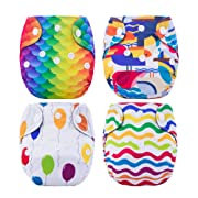 Thank u Mom Pocket Newborn Cloth Diapers for Less Than 12pounds Baby 4 Pack (colorful world)