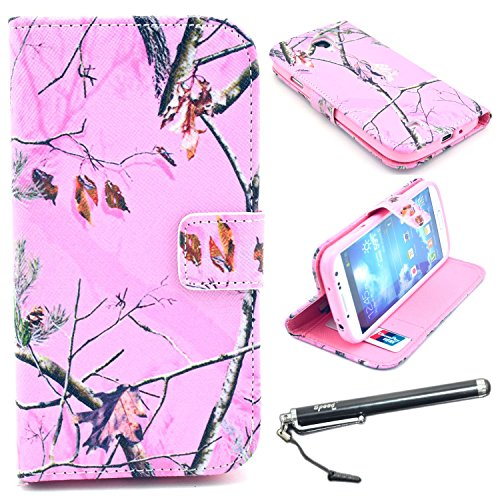 S4 Case, Galaxy S4 Case, Speedtek Pink Pinetree Pattern Premium PU Leather Wallet Flip Protective Skin Case with Magnetic Closure for Samsung Galaxy S4 i9500 (2013) (Built-in Credit Card/ID Card Slot)