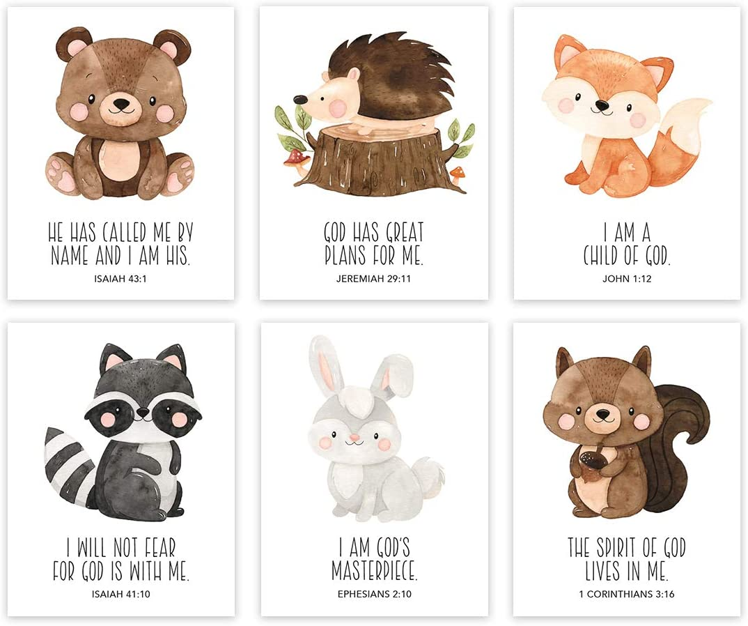 Andaz Press Christian Bible Verses Quotes Nursery Kids Bedroom Unframed Hanging Wall Art Poster Decor, 8.5x11-inch, Cute Woodland Forest Animals Theme, I Am a Child of God, 6-Pack, No Frames