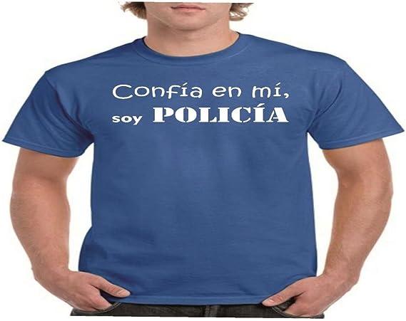 Parent: Camisetas Divertidas confia en mi, Soy policia - para Hombre Camiseta: Amazon.es: Ropa y accesorios