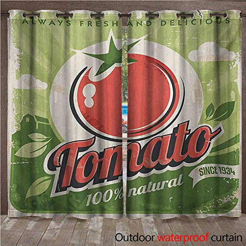 WilliamsDecor Vintage Outdoor Curtains for Patio Sheer Vintage Tomato Poster with an Antique Paper Print in Contemporary Graphic Design W84 x L84(214cm x 214cm)