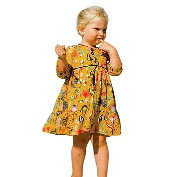 Vestidos Niña, ASHOP Vestido de Niñas Boda Fiesta de Princesa en Oferta Casual Floral Estampado Manga Larga Falda Moda Elegantes Primavera Verano Otoño Ropa ...