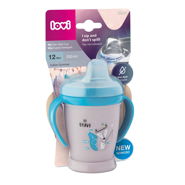 weiche Trinkt/ülle Einfach zu waschen LOVI auslaufsicher Trinklernbecher 210 ml Indian Summer Mini 9+Monate Blau Reizt das Zahnfleisch nicht Trinken ohne zu versch/ütten BPA frei