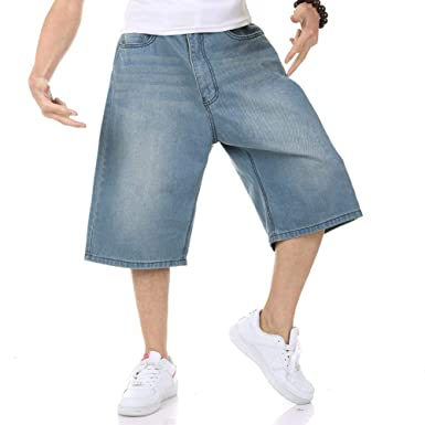 Mens Shorts Jeans Relaxed Fit Denim Shorts Baggy Simple Plain Blue Light Wash Plus Size 30W-46W 13L