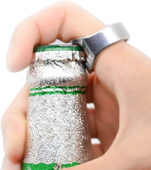 Compra Pack de 2 acero inoxidable dedo anillo ring-shape cerveza abridor de botellas para cerveza Bar Herramienta en Amazon.es