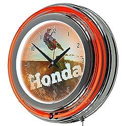 Honda Power Sport Chrome Double Ring Neon Clock, 14