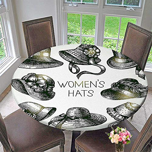 Mikihome Picnic Circle Table Cloths Collection of Vintage Woman Hats and Retro Fashion Catalogue Female Old Headdress Image for Family Dinners or Gatherings 63
