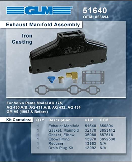 51640; Volvo Part Number GLM Part Number 856894 AQ VOLVO PENTA V6 EXHAUST MANIFOLD