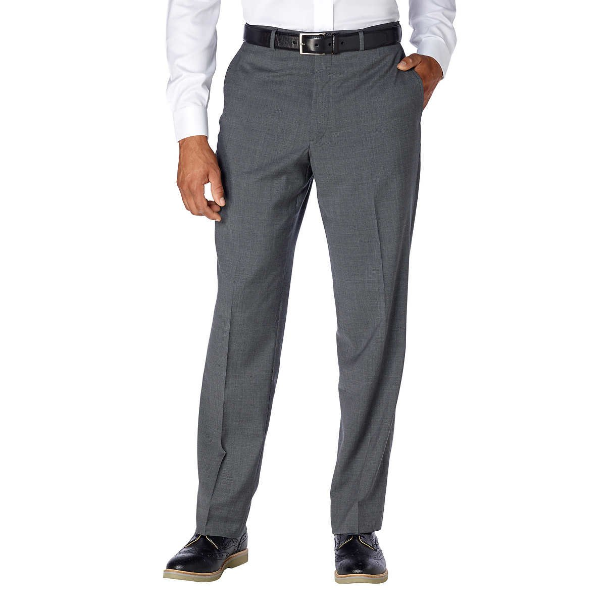 Kirkland Signature Men's Wool Flat Front Dress Pant! (Grey, 36W x 29L)