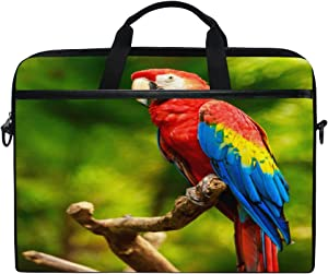 XMCL Jungle Macaw Parrot Laptop Case Shoulder Bag Computer Notebook Briefcase Messenger Bag with Adjustable Shoulder Strap Fits 14-14.5 inch