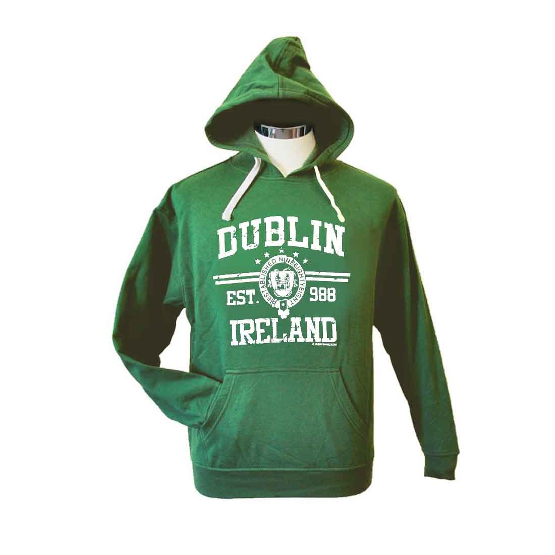 Carrolls Irish Gifts Pullover Hoodie With Dublin Ireland EST 988 Print, Green Colour