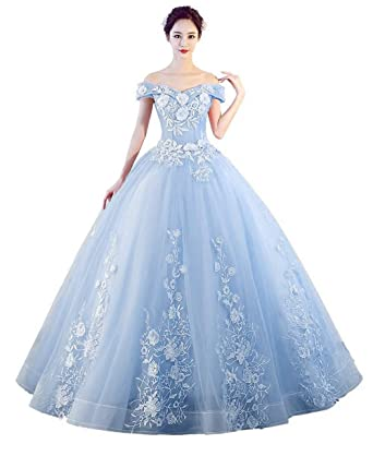 a45fb5d2f33 LEJY Women s Off The Shoulder Quinceanera Dresses Applique Masquerade Ball  Gowns Prom Dresses Baby Blue A