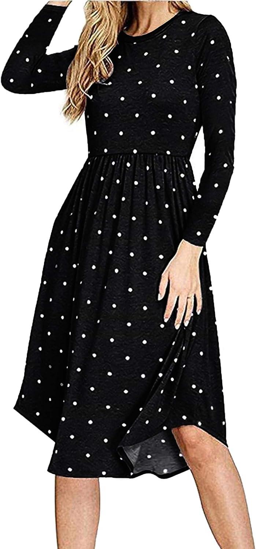 AUSELILY Robe d/écontract/ée sans Manches pliss/ée /à Manches Longues pour Femmes avec Poches Longueur au Genou.