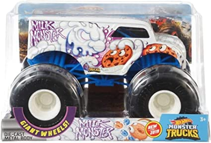 Amazon Com Hot Wheels Monster Trucks Milk Monster Die Cast 1 24 Scale Vehicle With Giant Wheels For Kids Age 3 To 8 Years Old Great Gift Toy Trucks Large Scales Toys Games