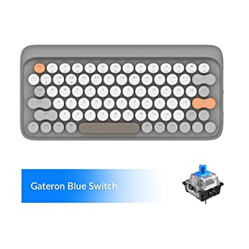 Windows with Gateron Blue Switch and Rechargeable Battery Android Grey Vintage Keyboard Retro Keyboard LOFREE Four Seasons Wielress Keyboard for Mac Bluetooth Mechanical Keyboard