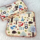 Woodland 12 Pack ECO CLOTH WIPES//100% Cotton ~ Large 8x8'' ~ Double Layer/2 ply by Primm n Proper Baby