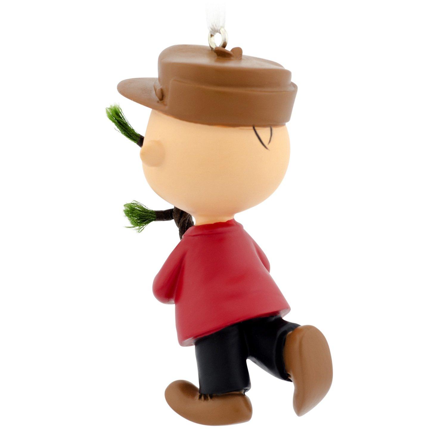 Amazon Com Hallmark Peanuts Charlie Brown With Tree Christmas Ornament Home Kitchen
