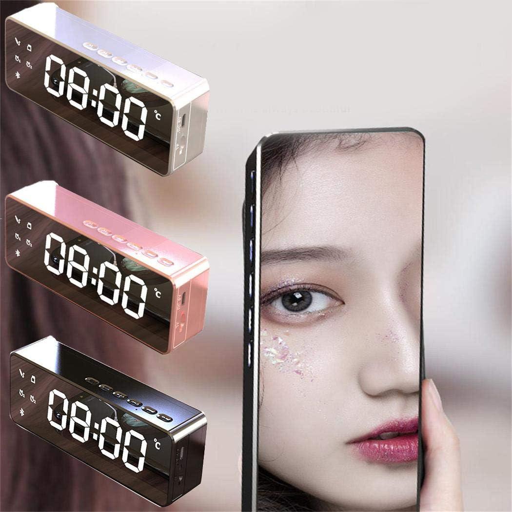Sivane Altoparlante Wireless Bluetooth LED Specchio Sveglia Subwoofer Lettore MP3 TF Card Bulbi