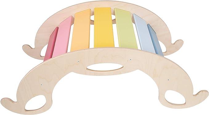Bunte Regenbogenwippe aus Holz