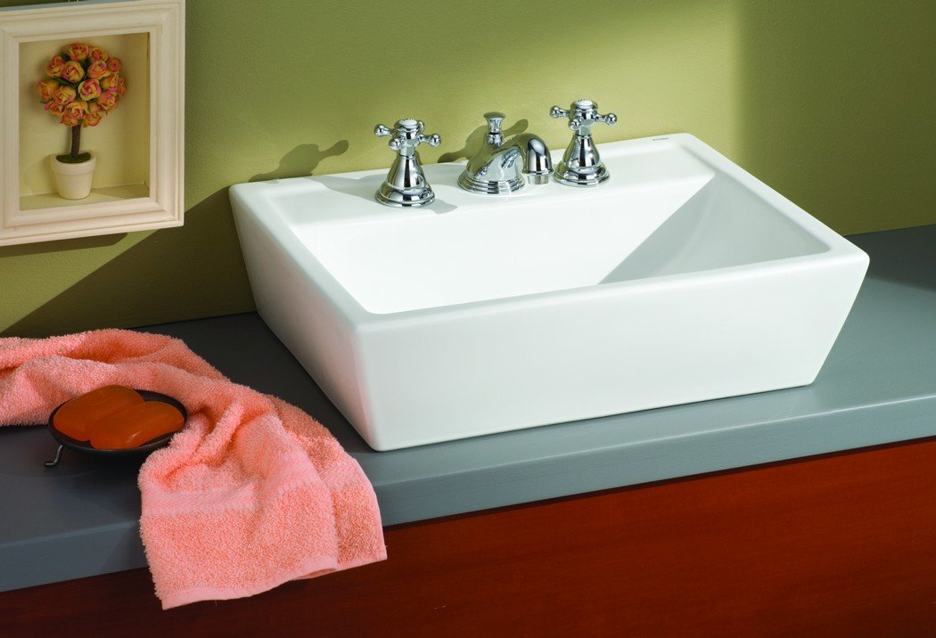 Cheviot Products Inc. 1237/18-WH-8 Sentire Vessel Sink 3 Faucet Holes, 18'' x 15 3/4'', White by Cheviot Products Inc.
