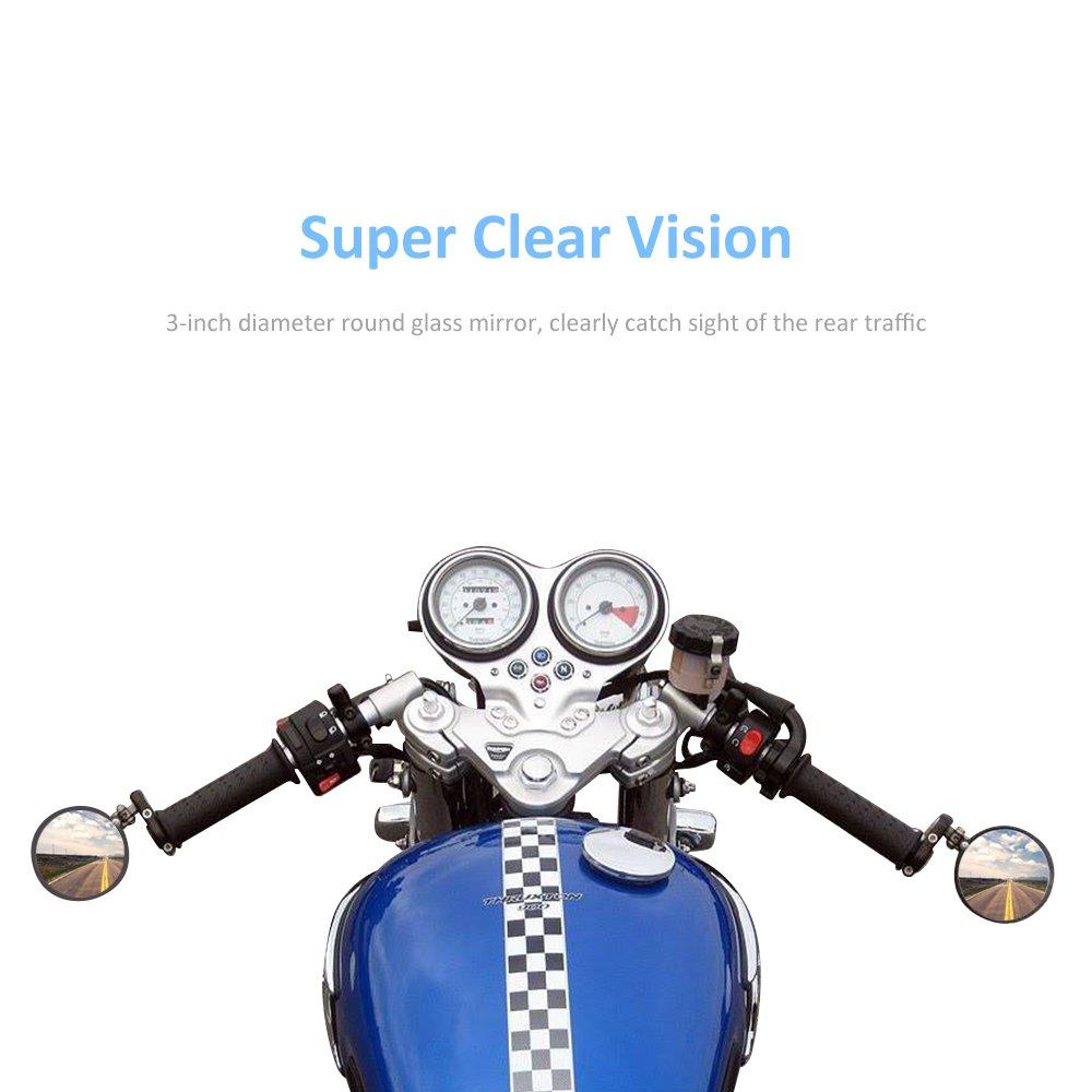 MICTUNING Universal Motorcycle Mirrors - 3'' Round Folding Bar End Side Mirror for Honda, Scooter, Suzuki, Yamaha, Kawasaki, Victory, Harley Davidson and More by MICTUNING (Image #2)