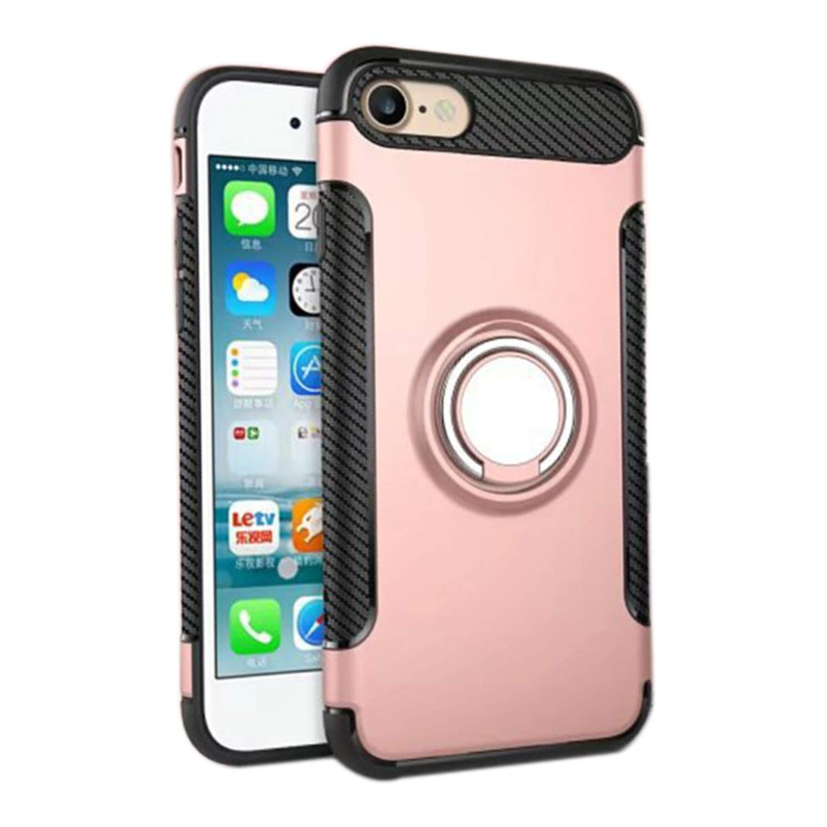 Ldea iPhone 6/6S Plus Case, Hybrid TPU+PC Car Holder Stand Magnetic Suction Bracket Finger Ring Shockproof Case Cover for Apple iPhone 6/6S Plus (Rose Gold) by Ldea