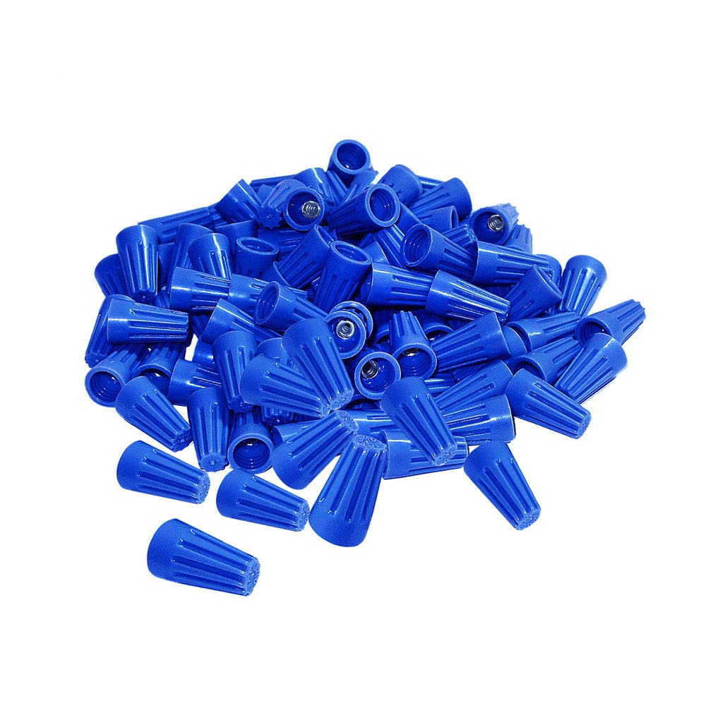 500Pcs twist on wire connectors - Blue #20 - #18 AWG Wire nut Bulk with Spring inserted, easy Screw on electrical caps
