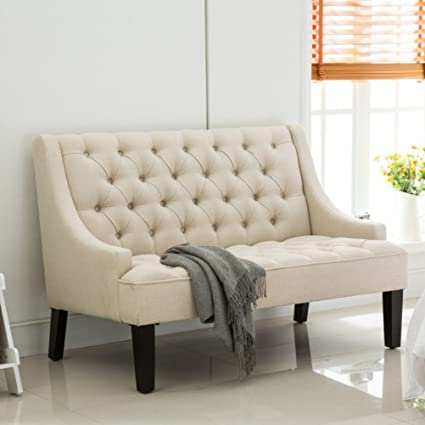 Tongli Modern Settee Banquette Bench Tufted Fabric Sofa Couch Chair  2 Seater Loveseat Beige