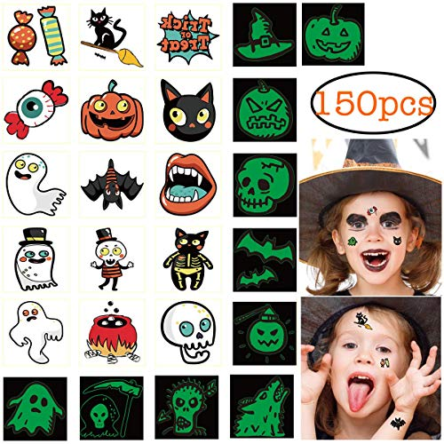 (150pcs Assorted Halloween Tattoos, 26 Designs including Glow in the dark Children Tattoos Halloween Trick or)