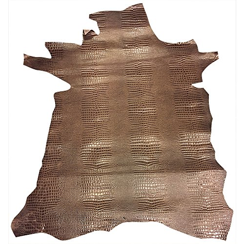 Calf Skin Leather Hide - Brown Snakeskin Embossed - Quality Spanish Calfskin - Full Skin - 10 sq ft - 3-4 oz avg Thickness - Upholstery Material - Craft Supply - Large Genuine Leather Pelts ()