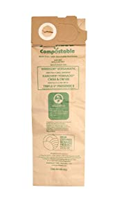 Janitized COM-Wiver-4(5) Compostable Paper Premium Replacement Commercial Vacuum Bag for Windsor Versamatic, Karcher/Tornado Models: CW50 & CW100, Triple S Prosense II Vacuums (Pack of 5)