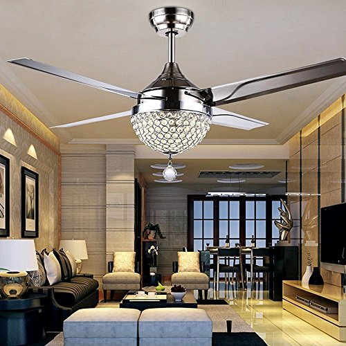 Stainless Steel Downrods - RainierLight Modern Crystal Ceiling Fan Lamp LED 3 Changing Light 4 Stainless Steel Blades with Remote Control for Living Room/Bedroom 44-Inch