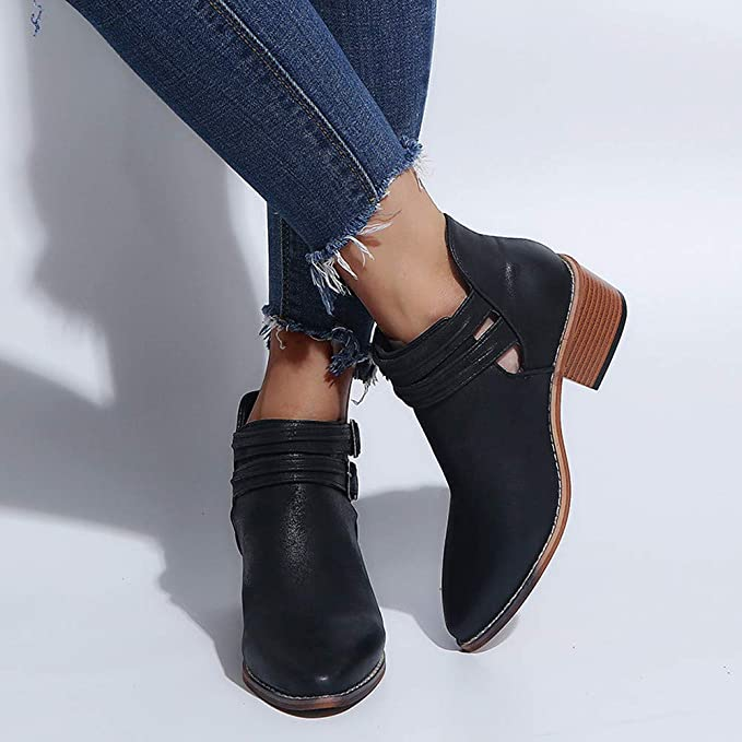 Amazon.com: NEARTIME Women Casual Leather Shoes Ponited Toe Pure Color Booties Buckle Strap Square Heel Shoes: Clothing