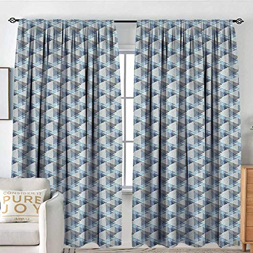 (Bedroom Blackout Curtain Panels Stripes,Eighties Style Line Arrangement Diagonal Pattern of Geometric Concepts, Cream Blue Pale Blue,All Season Thermal Insulated Solid Room Drapes 100