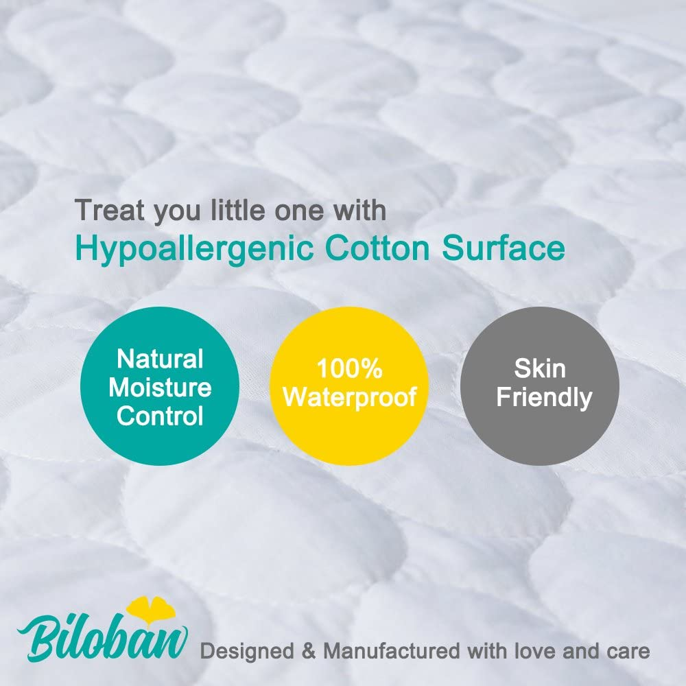 """Biloban Toddler Waterproof Crib Mattress Pad Cover Machine Washable /& Dryer Fit Baby Bed Mattress Protector Standard Size 52/"""" x 28/"""""""