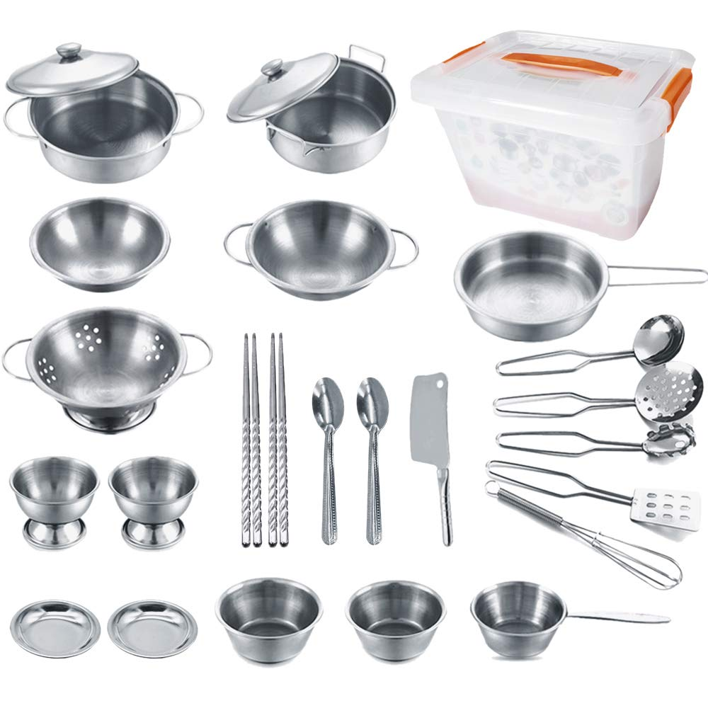 KEJIH Cooking Utensils Set 25 Pieces Stainless Steel Kitchen Toys Pretend Play Pots Pans Toy Cookware Kits for Kids Come with a Handy Storage Box Role Play Educational Toys for Toddlers Small Size by KEJIH