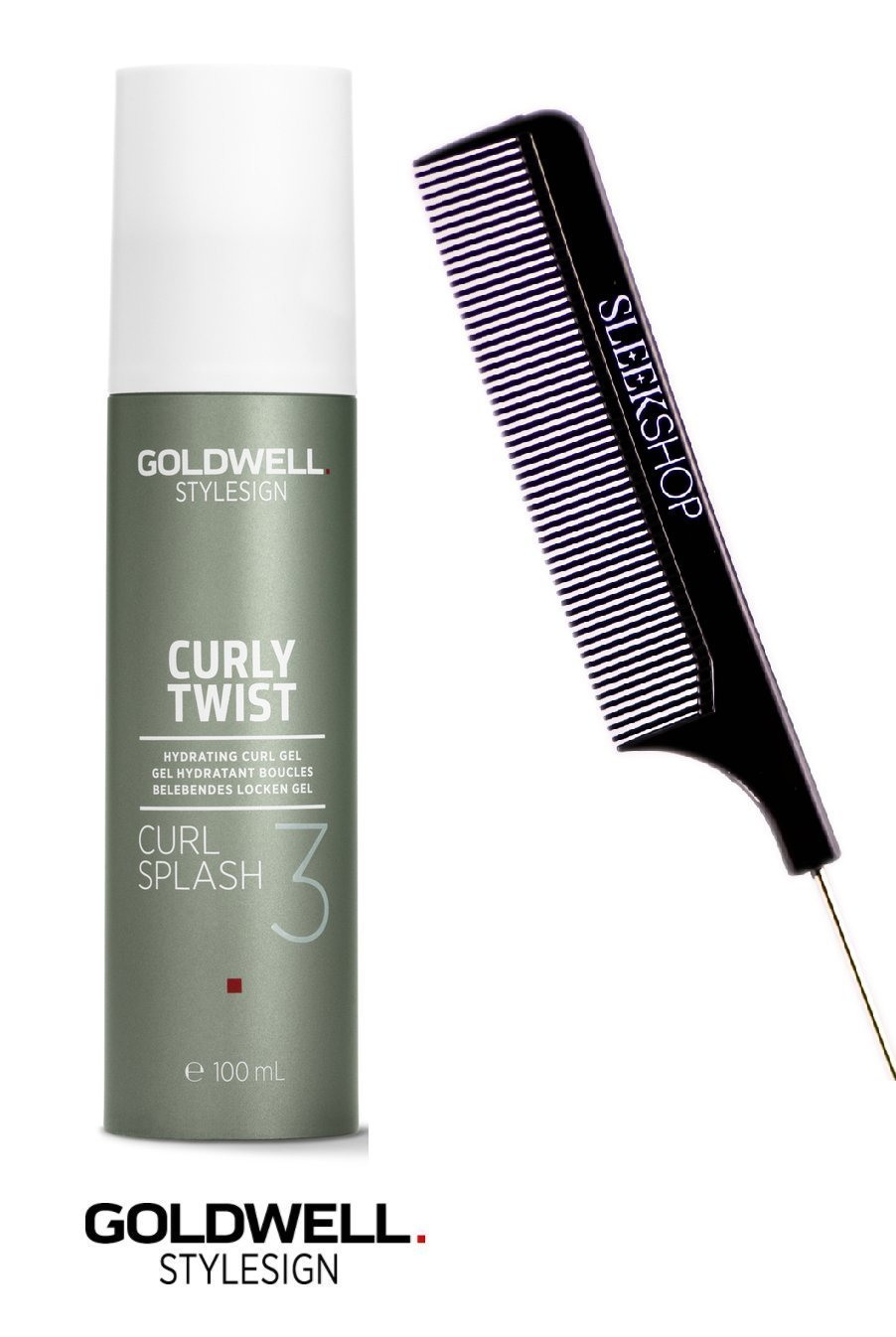 Goldwell Stylesign 3 Curly Twist Curl Splash Hydrating Curl Gel, 3.3 oz (with Sleek Steel Pin Tail Comb)