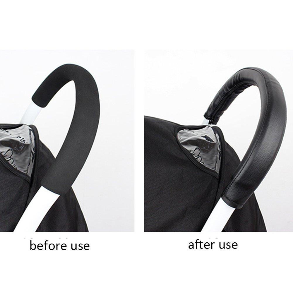 noir Housse universelle pour poign/ée de poussette poign/ée universelle en cuir artificiel accoudoir de poussette