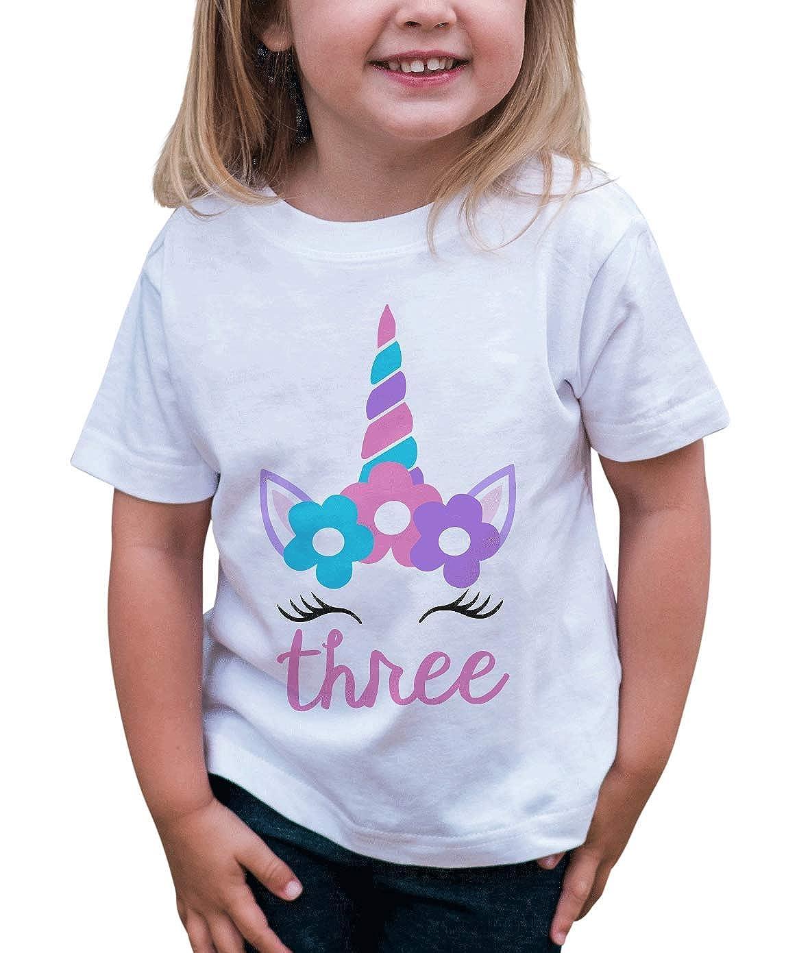 7 ate 9 Apparel Girls Three Birthday Unicorn T-Shirt