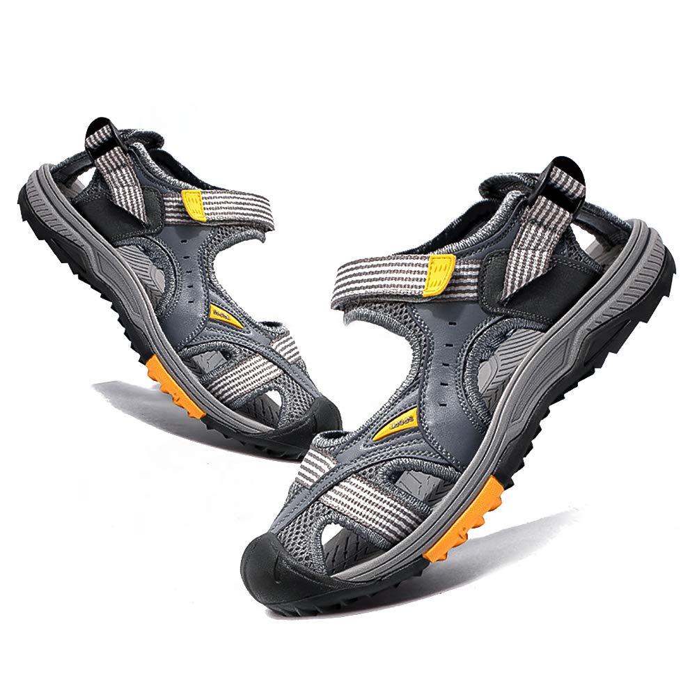 gris KTOL Plein Air Sport Sandales pour Hommes, Plage Casual Chaussures Anti-dérapant D'Amortissement Support Arqué Textile été 42 EU 26cm(10.2In)
