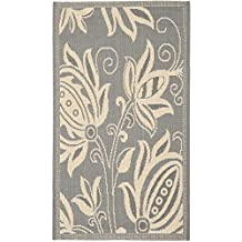 Safavieh Courtyard Collection CY2961-3606 Grey and Natural Indoor/Outdoor Area Rug, 2 Feet by 3 Feet 7-Inch