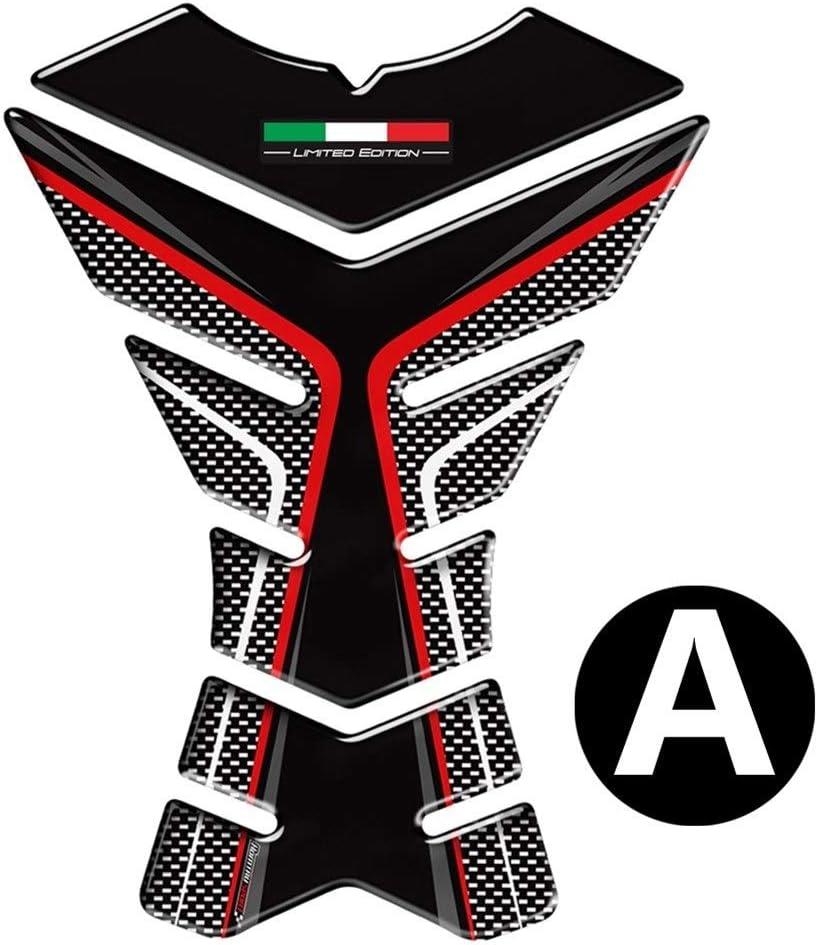 Color : C Moto Caso Adesivi rilievo del carro armato della decalcomania della protezione del carbonio 3D-look for Honda Suzuki Kawasaki Ducati Aprilia RV4 Italia Bandiera serbatoio