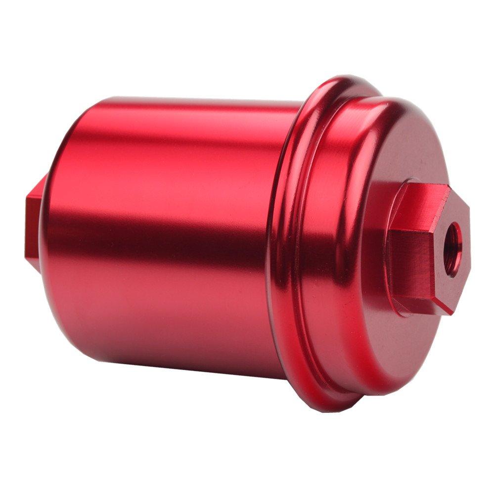 amazon com: dewhel jdm racing sport high flow volume fuel filter honda  civic accord acura integra red: automotive