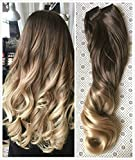 20 Inches 3/4 Full Head Clip in Hair Extensions Ombre One Piece 2 Tones Wavy Curly (Chocolate brown to sandy blonde) DL …
