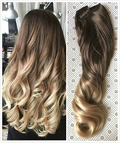 20 Inches 3/4 Full Head Clip in Hair Extensions Ombre One Piece 2 Tones Wavy Curly (Chocolate brown to sandy blonde) DL ...]()