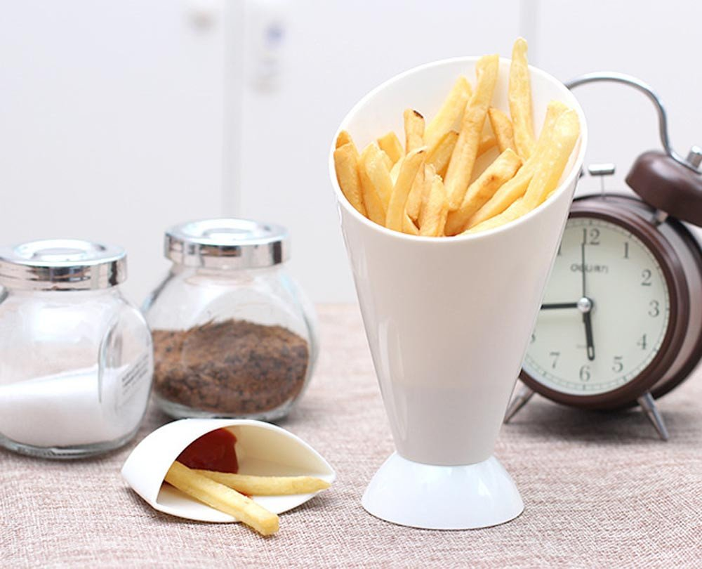 Quaanti 2 in 1 French Fry Cone with Dipping Cup - Home Kitchen Potato Tool Tableware - French Fry Holder,French Fry Cone Dipping Cups for French Fries and Veggies Removable Dip Cup (White) by Quaanti (Image #1)
