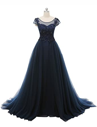 Annie\'s Bridal Gown Navy Blue Lace A Line Wedding Dress Tulle Ball ...