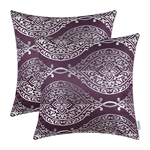 CaliTime Pack of 2 Throw Pillow Covers Cases for Couch Sofa Home Decor, Vintage Yin and Yang Striped Damask Floral, 18 X 18 Inches, Eggplant
