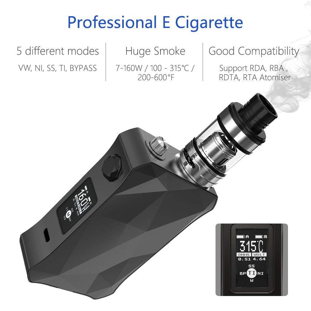 Cigarrillos electrónicos,Vape Mod Box Starter Kit 7-160W,Batería recargable de 5000mah,Enorme Kit de Vape con pantalla,E Cigarette Sin Nicotina y Sin ...