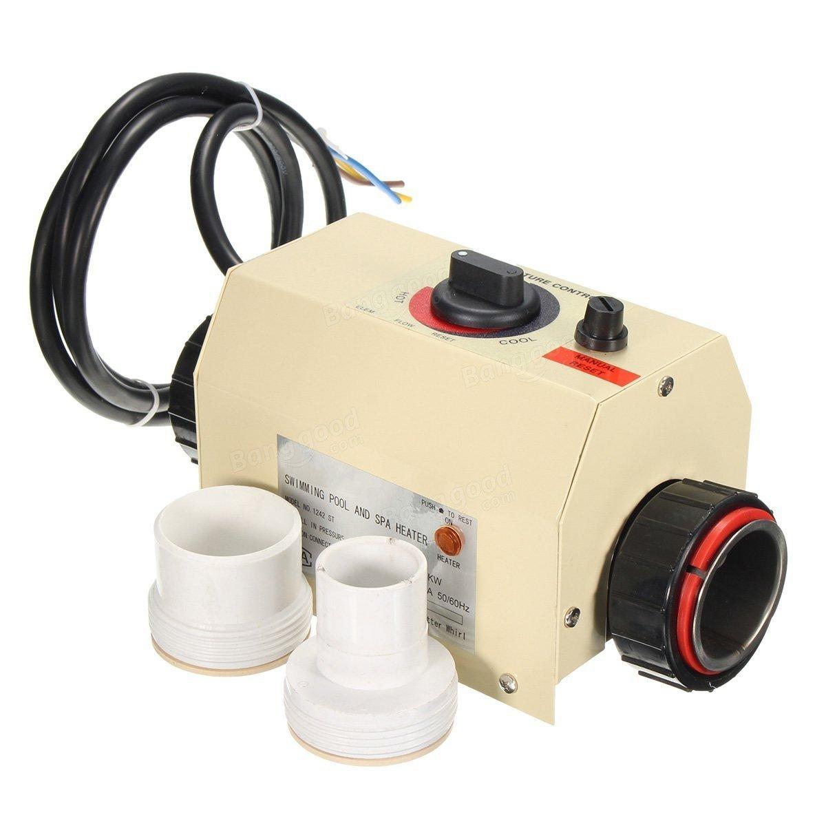 Bargain mundo Costas 3 kW 220 V piscina y Spa Hot Tub eléctrico calentador de agua termostato: Amazon.es: Electrónica